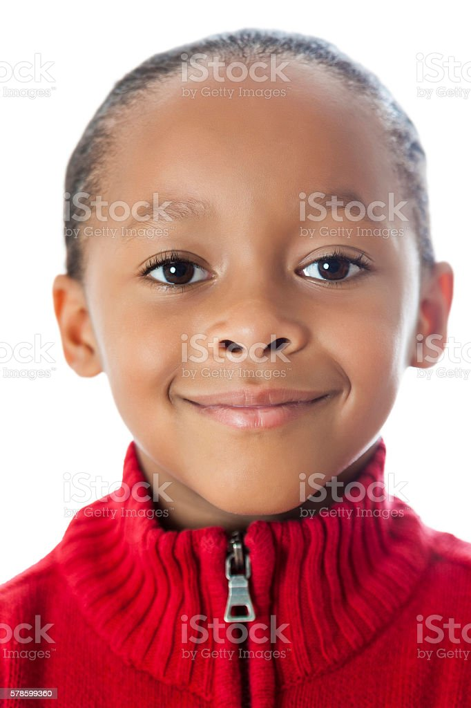 Closeup of sweet African American boy smiling stock photo