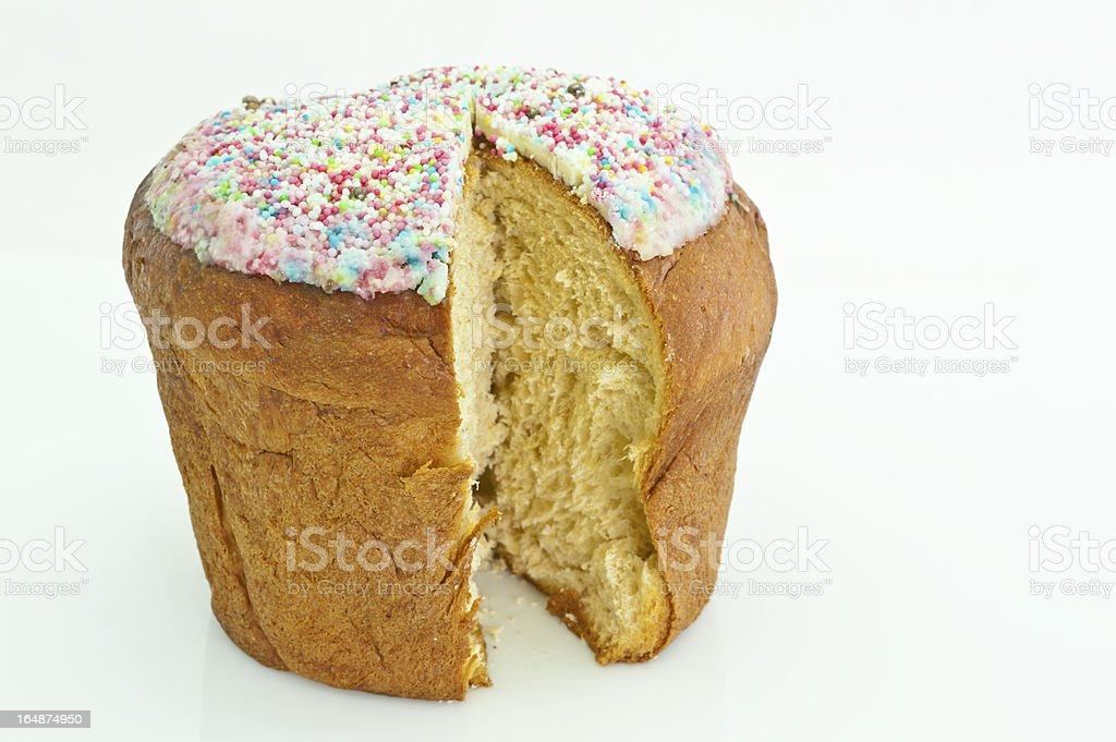 Close-Up of sweet Italian Easter Cake, with a slice missing royalty-free stock photo
