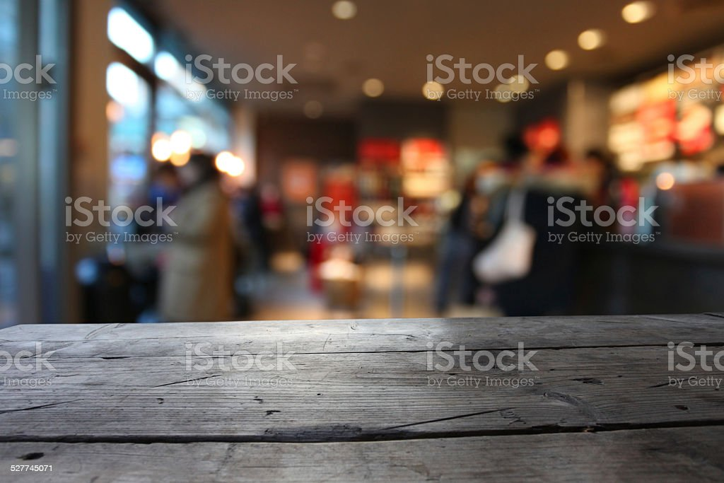 Close-up of table edge in a bar, defocused background stock photo