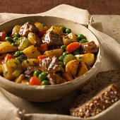 Close-up of tasty beef stew with variety of vegetables
