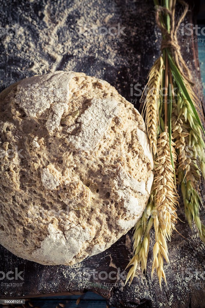 Closeup of tasty loaf of bread with several grains stock photo