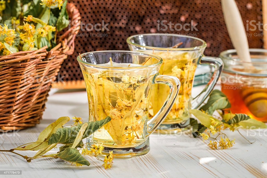 Closeup of tea with lime and honey royalty-free stock photo