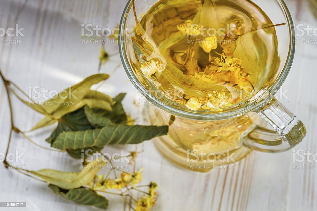 Closeup of tea with lime royalty-free stock photo
