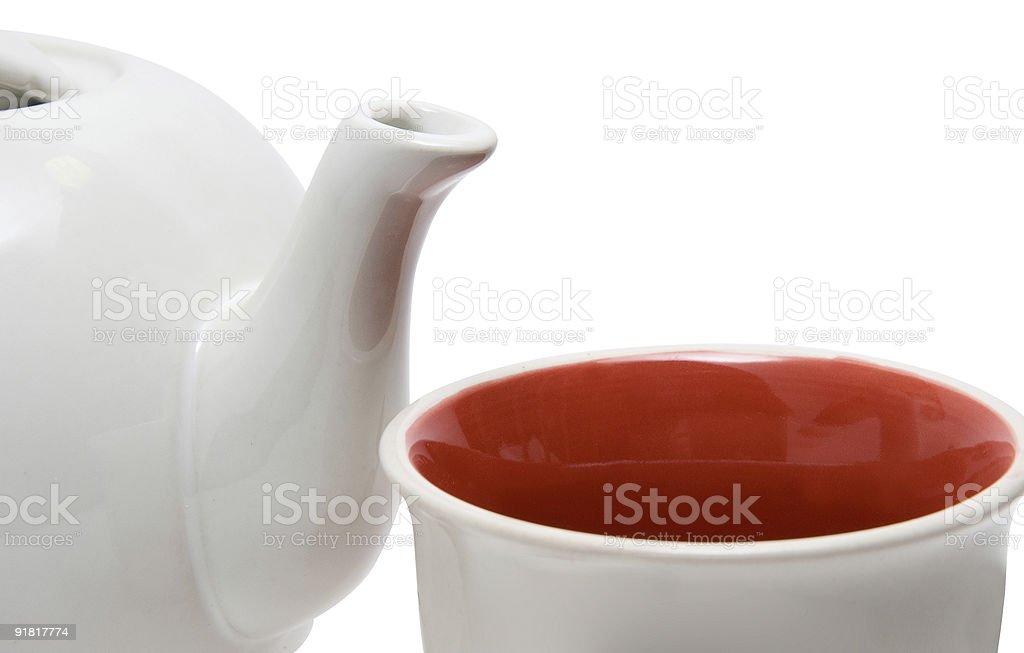 Gros plan d'une théière et tasse photo libre de droits