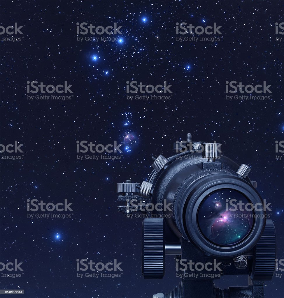 Close-up of telescope on astronomy background royalty-free stock photo