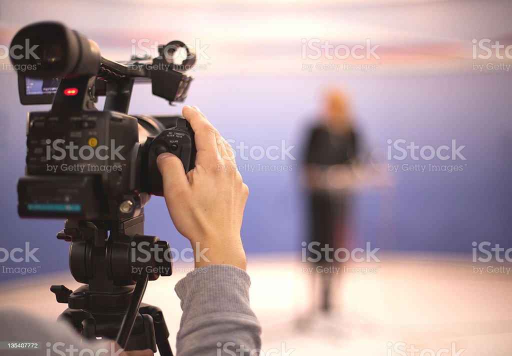 Close-up of television camera ready to begin broadcasting royalty-free stock photo