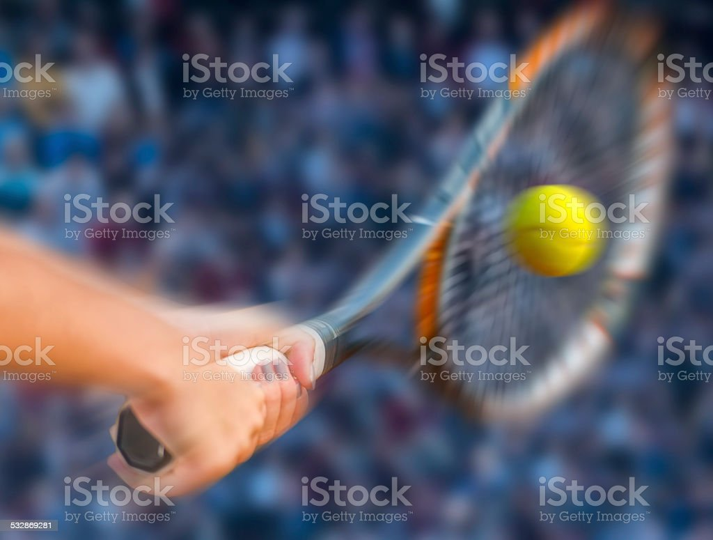 Close-up of Tennis Racket at Backhand stock photo