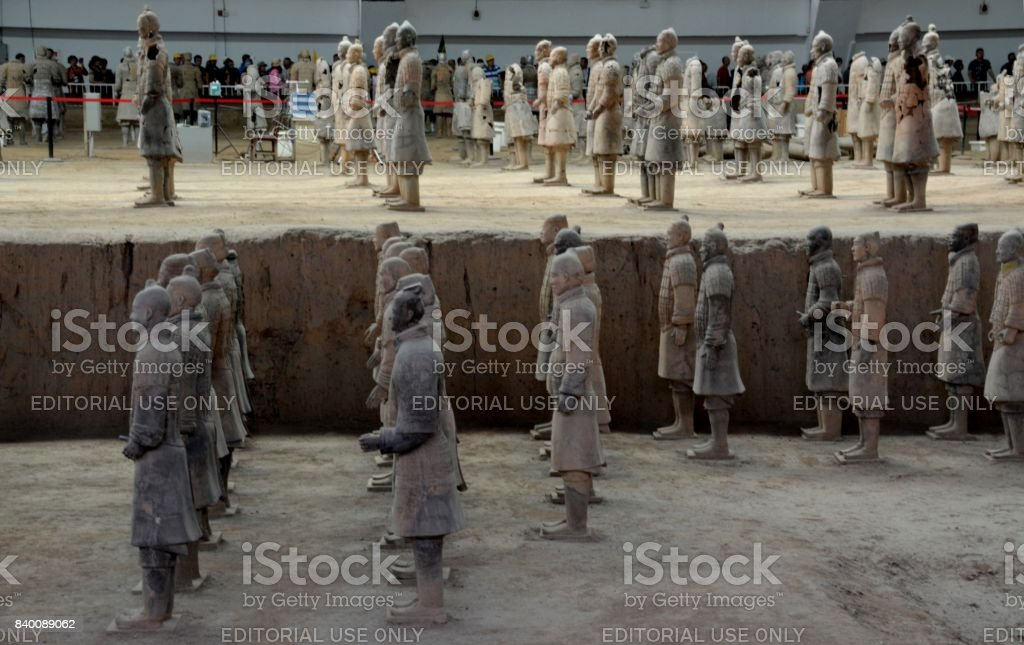 Close-up of Terracotta Army soldiers of Xi'an, Shaanxi, China stock photo