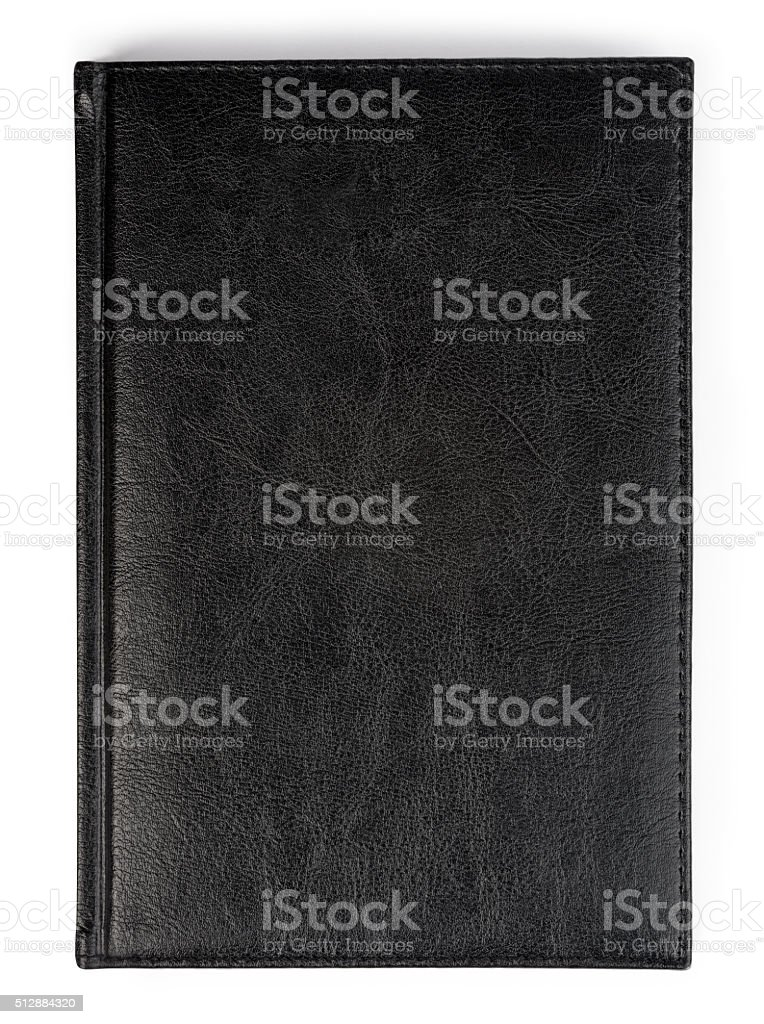 Closeup of texture leather notebook with stitching along edge stock photo