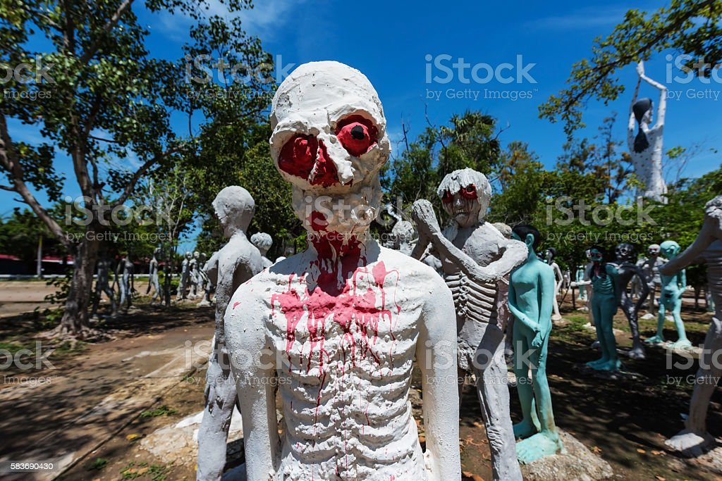Closeup of Thai hungry ghost stock photo