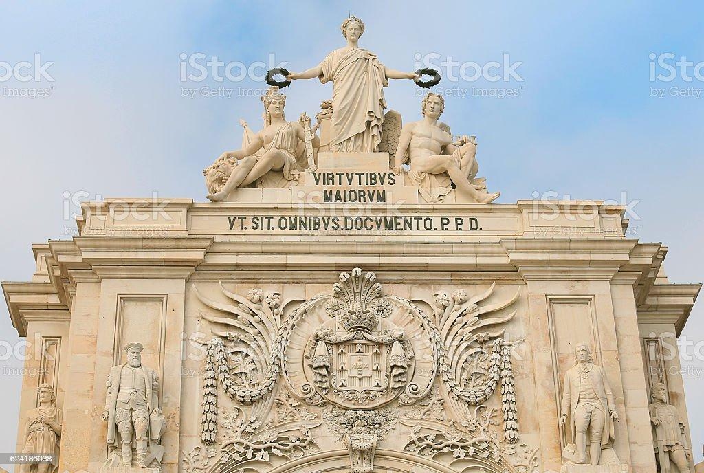 Closeup of the arch on Praca do Comercio stock photo