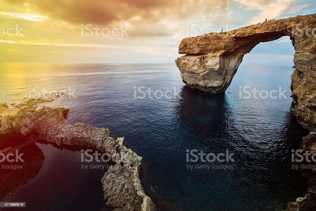 Close-up of the Azure Window on the Maltese island of Gozo stock photo