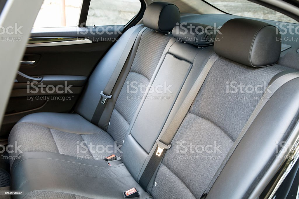 Close-up of the back seat interior of a car stock photo