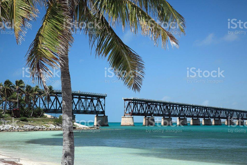 Closeup of the Bahia Honda bridge over water stock photo