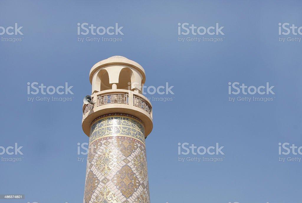 Closeup of the beautiful ornamented minaret in Katara village, Qatar stock photo