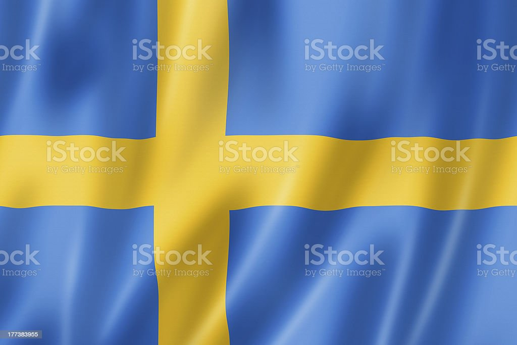 Close-up of the blue and yellow Swedish flag stock photo