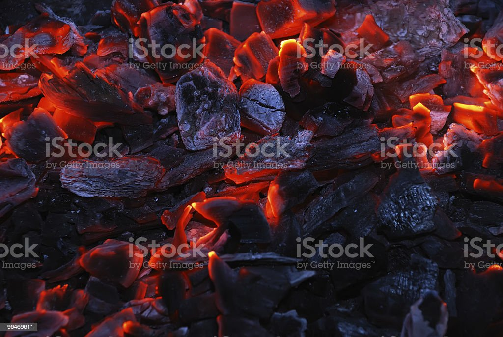 Closeup of the burning charcoal royalty-free stock photo