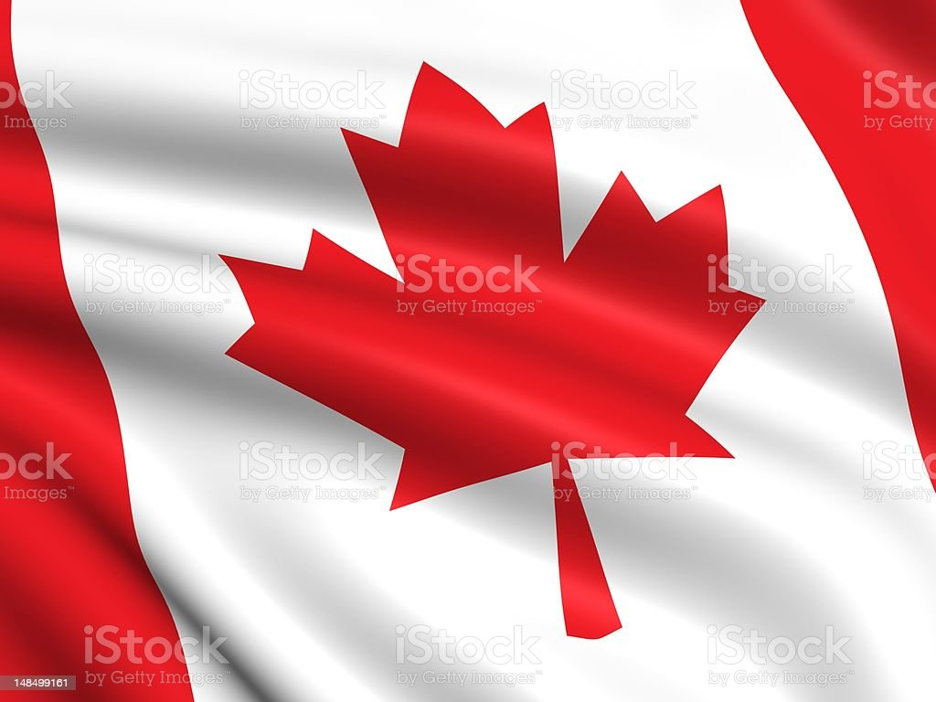 A closeup of the Canadian flag's red maple leaf stock photo