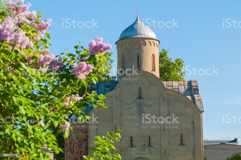 Closeup of the church of Peter and Paul at Slavna in Veliky Novgorod, Russia. Selective focus at the church stock photo