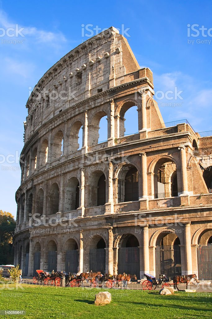 Close-up of The Colosseum on a sunny day stock photo