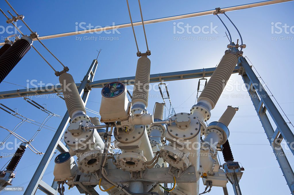 Close-up of the components of an electricity substation royalty-free stock photo