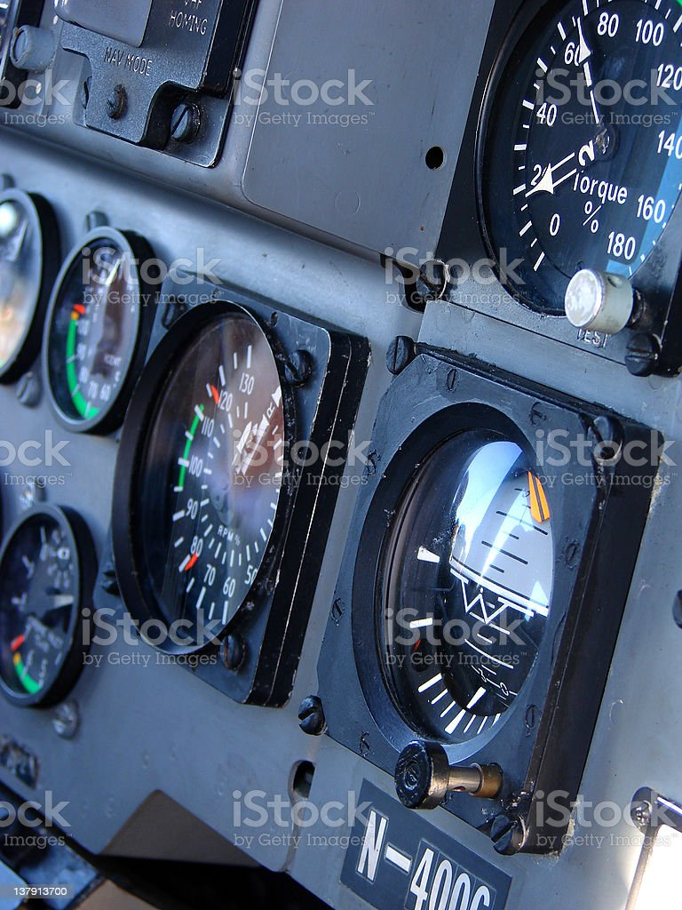 Close-up of the control panel in the helicopter cockpit stock photo