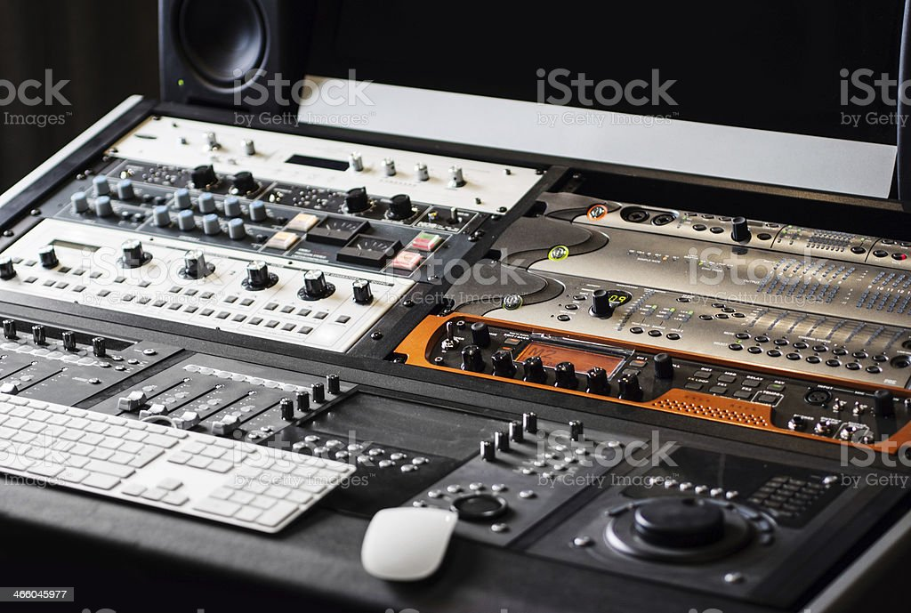 Close-up of the control panel of a recording studio stock photo