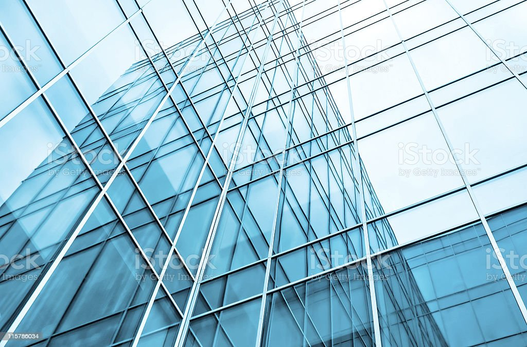 Close-up of the corner on a building made of windows royalty-free stock photo