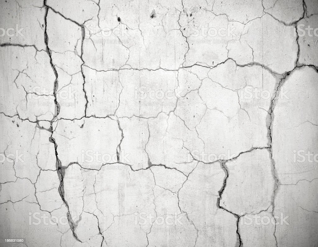 Close-up of the cracked and damaged wall stock photo