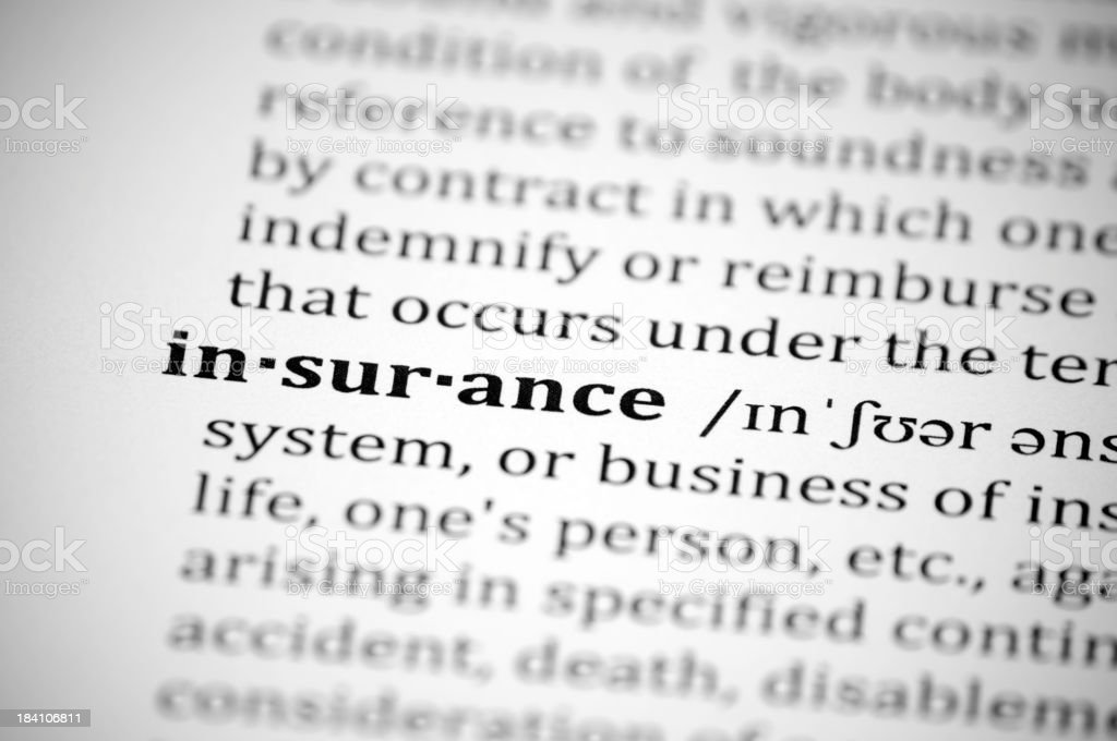 Close-up of the definition of insurance in a dictionary royalty-free stock photo