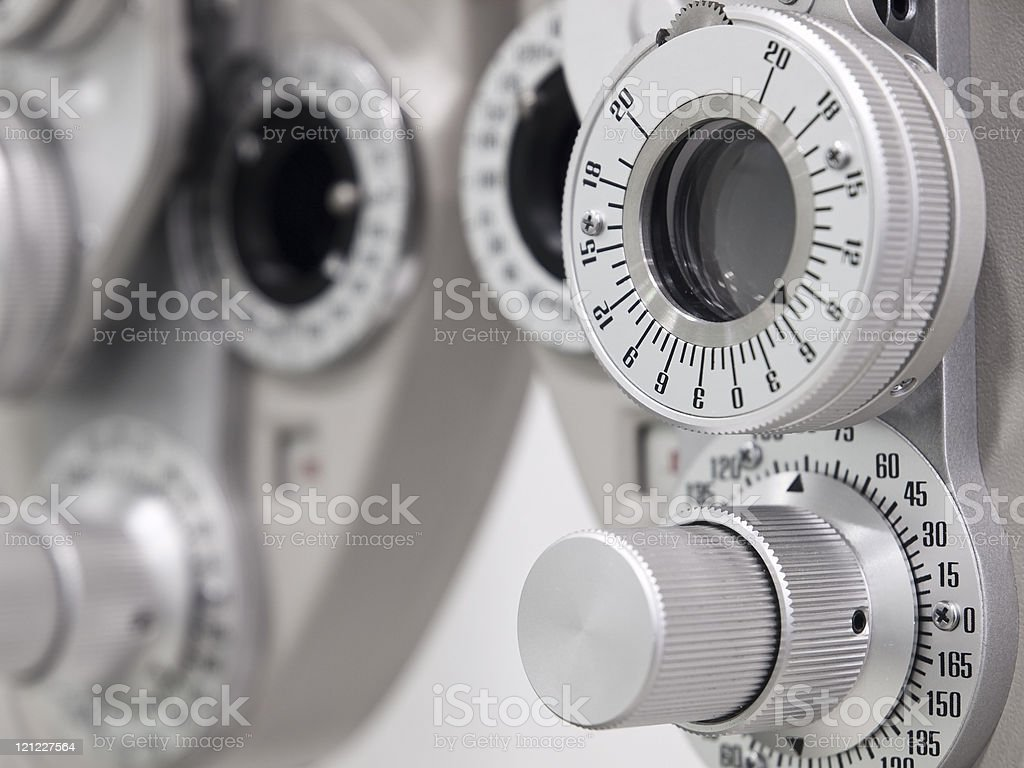 A close-up of the diopter an optometrist uses stock photo