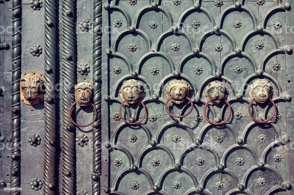 Close-up of the door of St Mark's Basilica in Venice stock photo