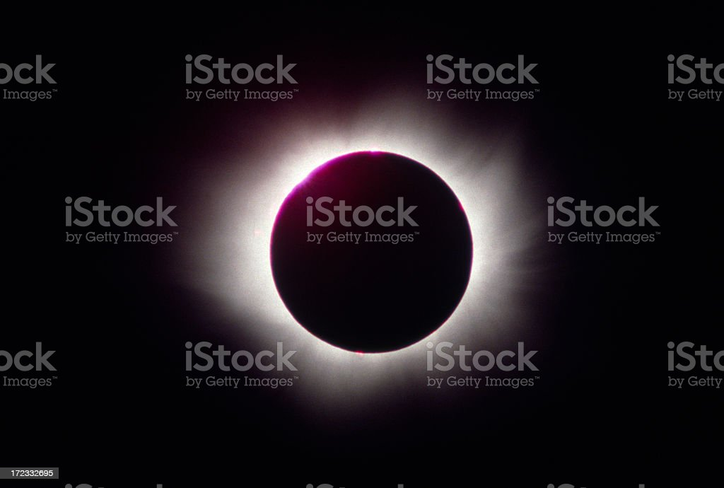 Close-up of the eclipse in space stock photo