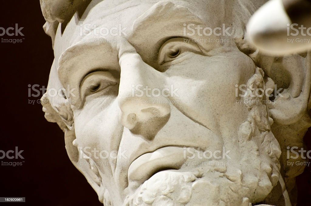 Close-up of the face of Abraham Lincoln Memorial stock photo