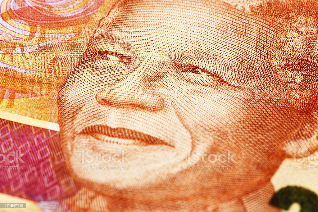 Close-up of the famous Mandela smile on South African banknote stock photo
