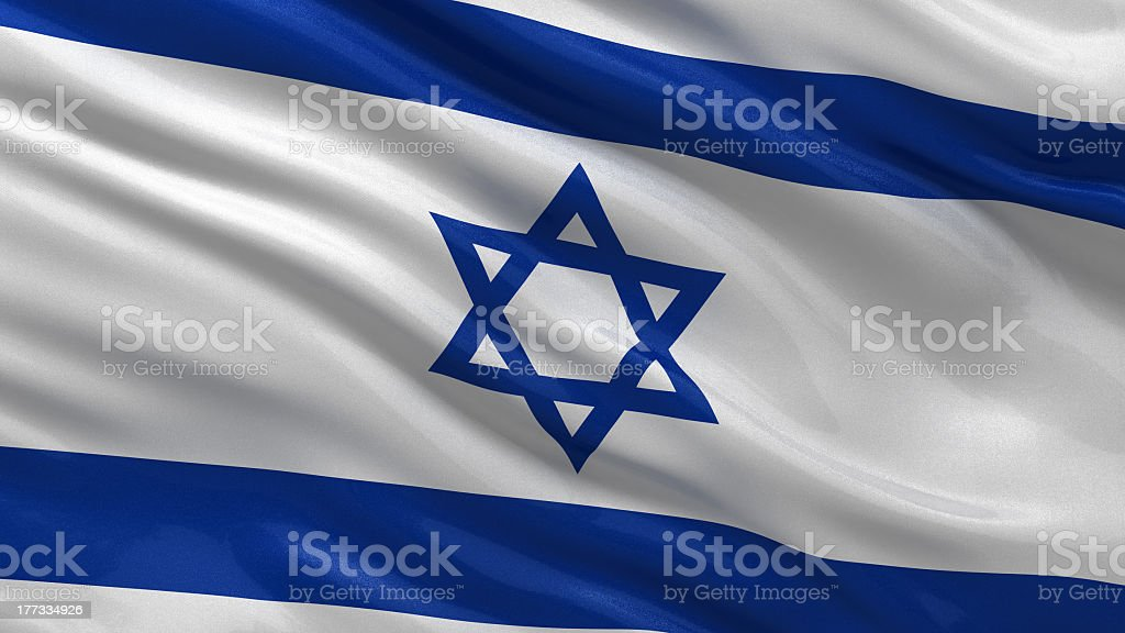 Close-up of the flag of Israel in the wind stock photo