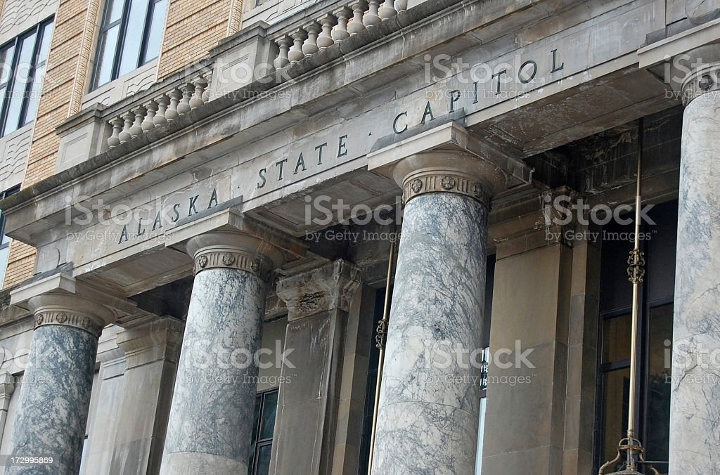 Close-up of the front exterior of Alaska's State Capitol stock photo