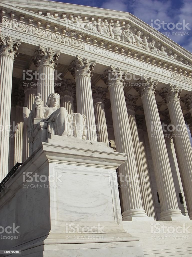 Close-up of the front view of a justice building royalty-free stock photo