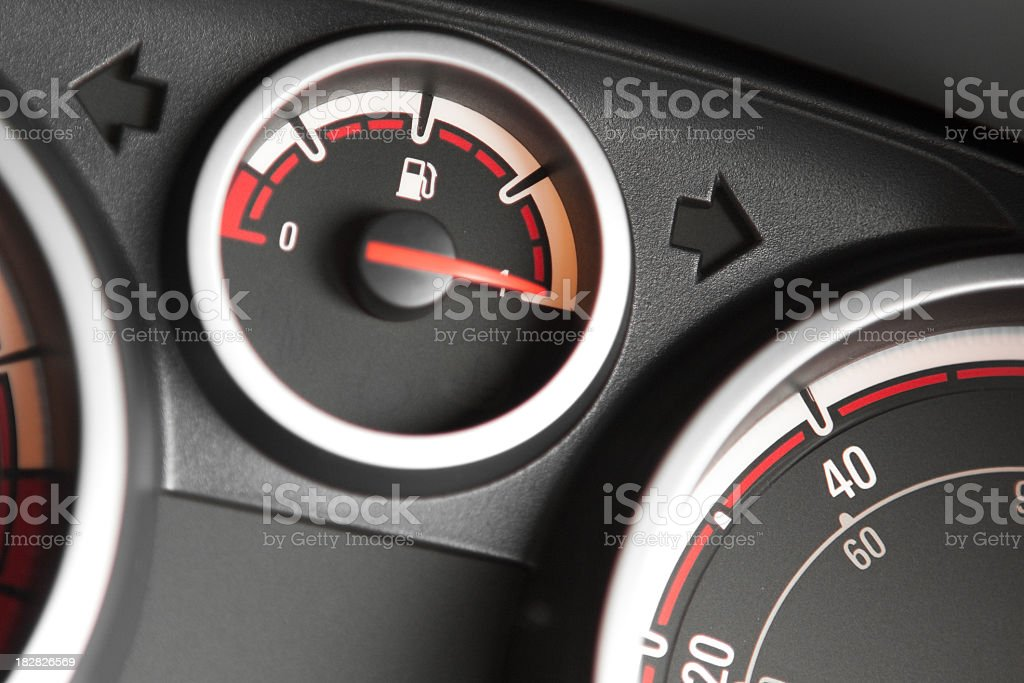 Close-up of the fuel gauge on a filled up car royalty-free stock photo