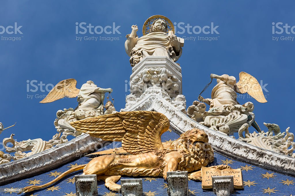 Close-up of the gable of St Mark's Basilica in Venice stock photo