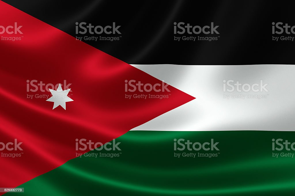 Close-up of the Hashemite Kingdom of Jordan's Flag stock photo