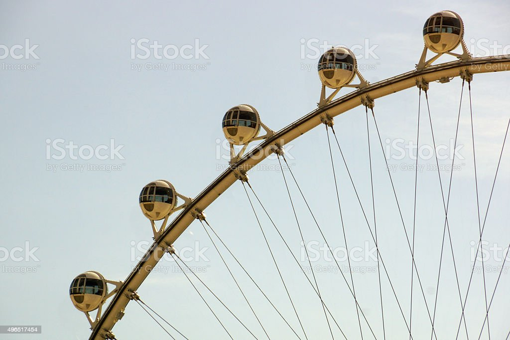 Close-up of The High Roller Wheel at dawn stock photo