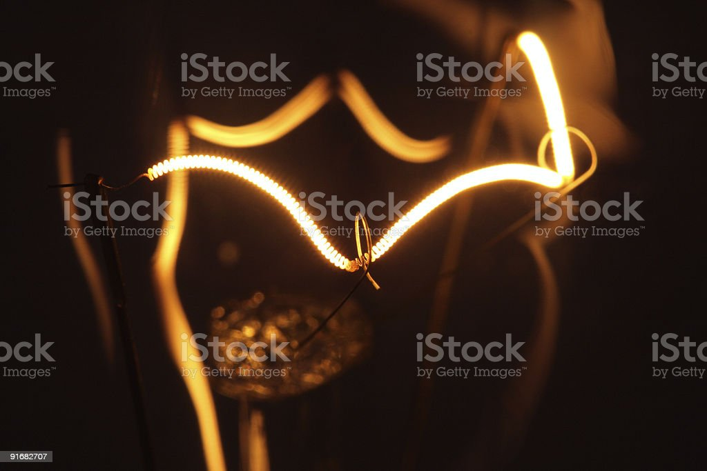 Close-up of the inner workings of a lamp in the dark royalty-free stock photo