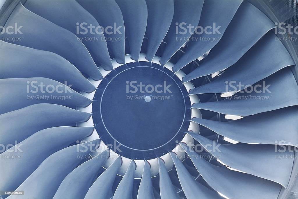 Close-up of the inside of a jet engine royalty-free stock photo