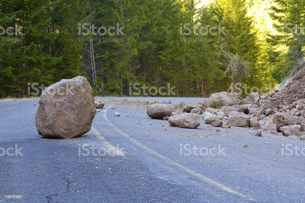 Closeup of the landslide of a blocked road stock photo
