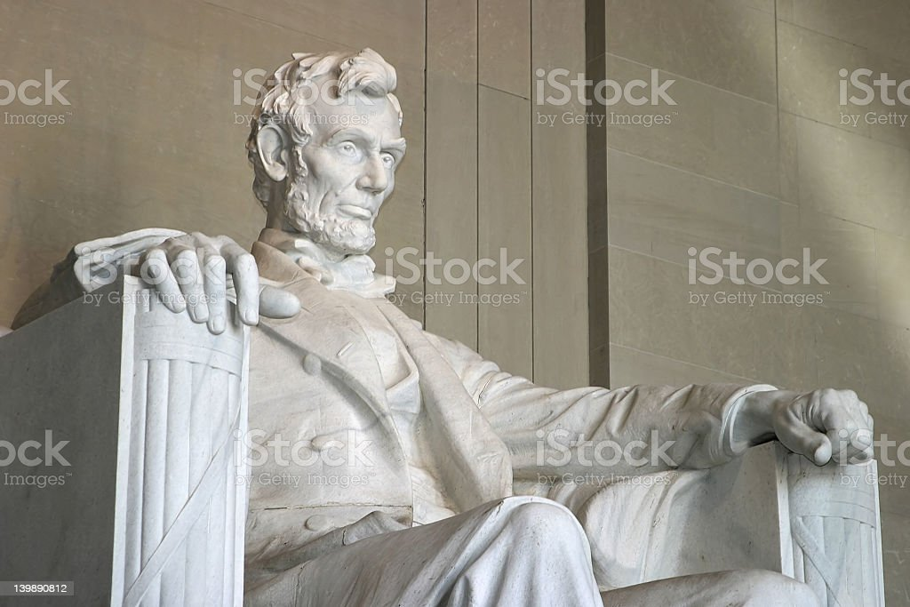 Close-up of the Lincoln Memorial from right side of statue stock photo