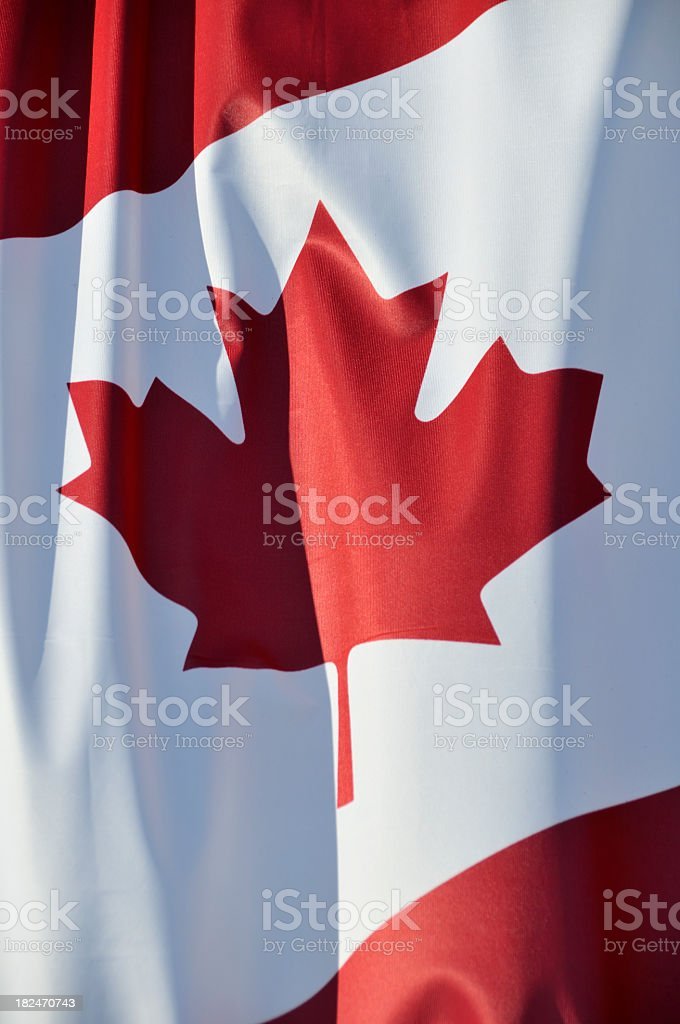 Close-up of the maple leaf on the Canadian flag royalty-free stock photo