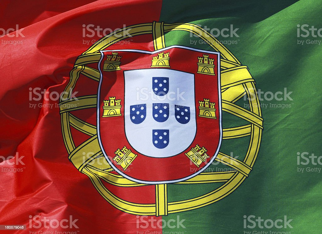 close-up of the national flag Portugal royalty-free stock photo