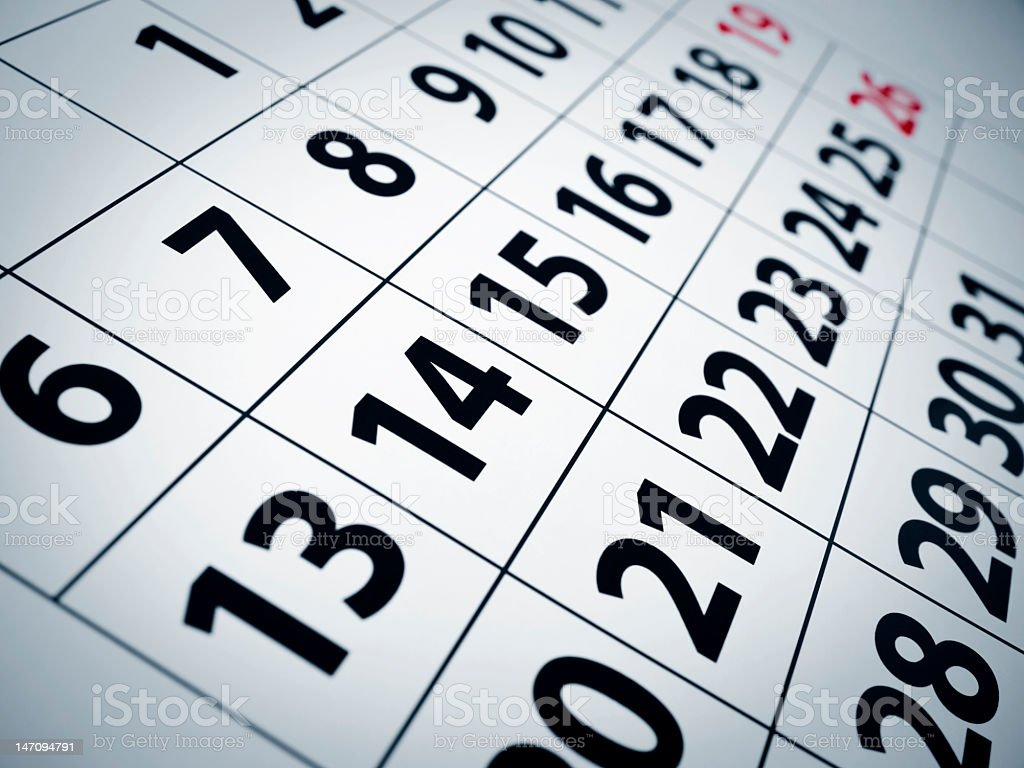 Closeup of the numbers on a calendar stock photo