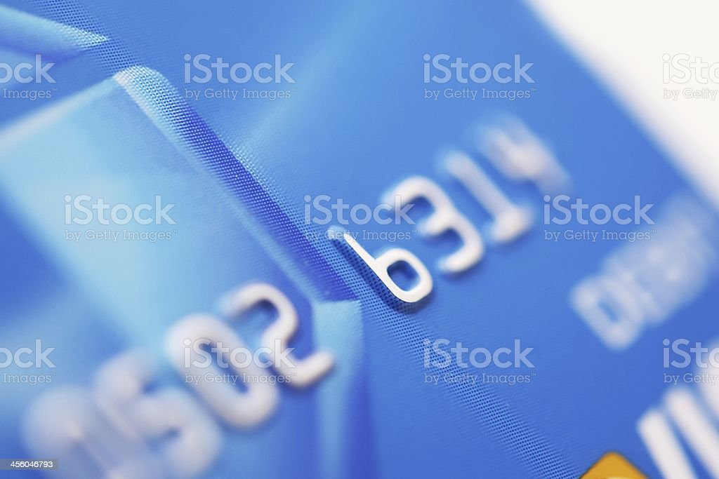 Close-up of the numbers on a debit card stock photo